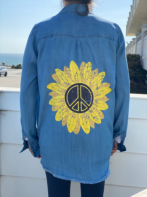 Denim Peace Sunflower Top