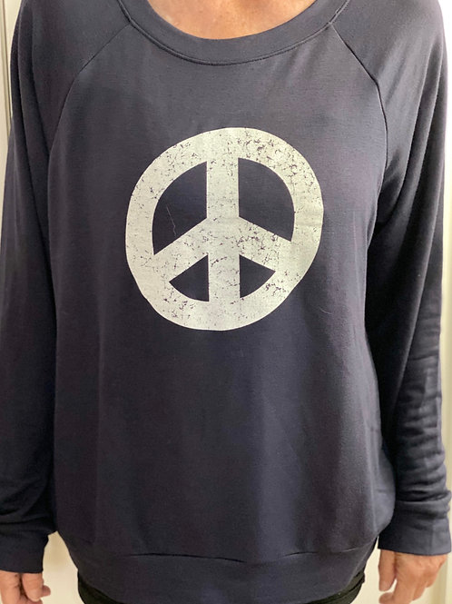 Navy Round Neck Imagine Peace Sign Top