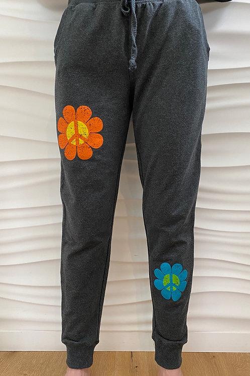 Charcoal Gray Peace Flower Sweatpants/Capri