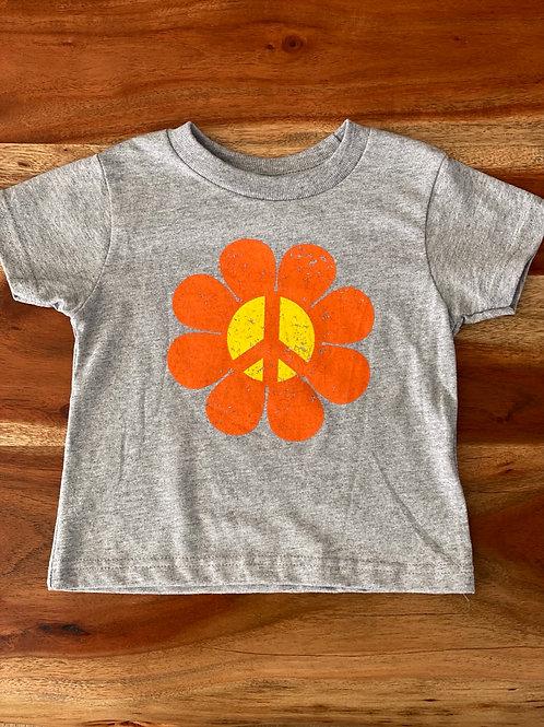 Toddler Tee Peace Flower Power Heather Grey