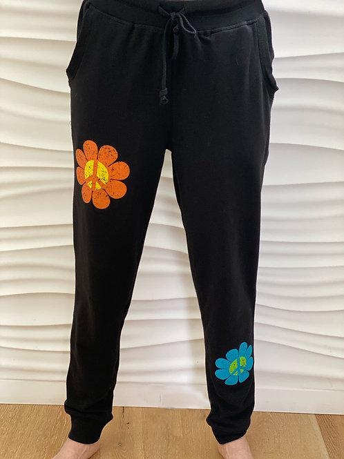 Black Peace Flowers Sweatpant/Capri