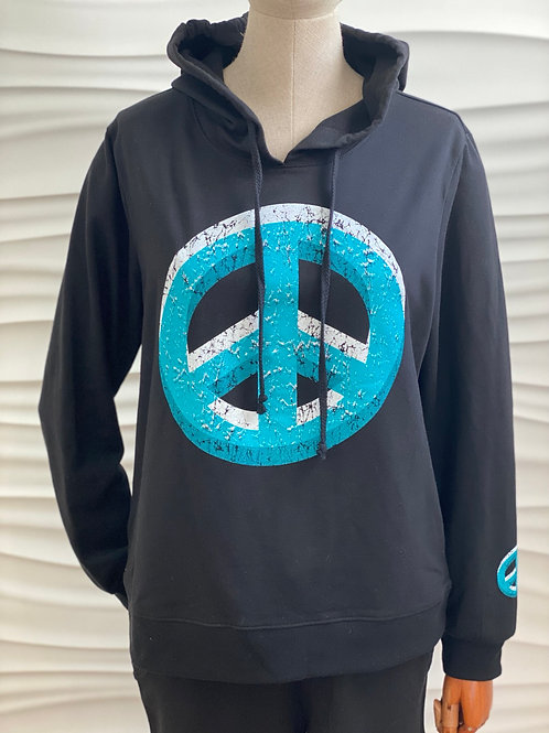 Black Double Peace Sign Terry Hoodie