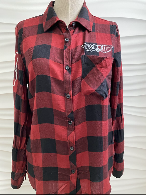 Red Button Up Plaid Love Top