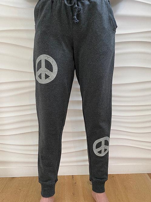 Charcoal Gray Peace Sign Sweatpants/Capri