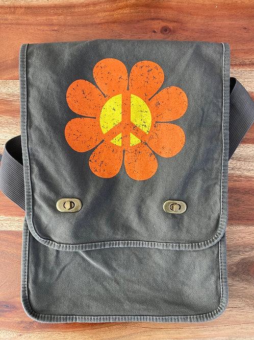 Flower Power Peace Canvas Messenger Bag