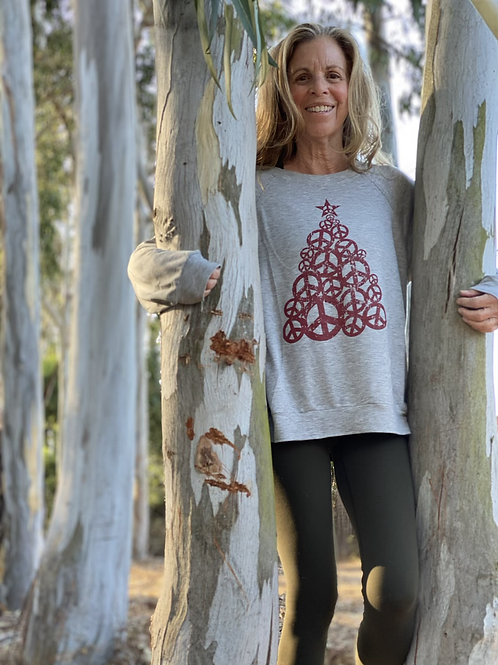 Heather Grey Peace Tree Round Neck