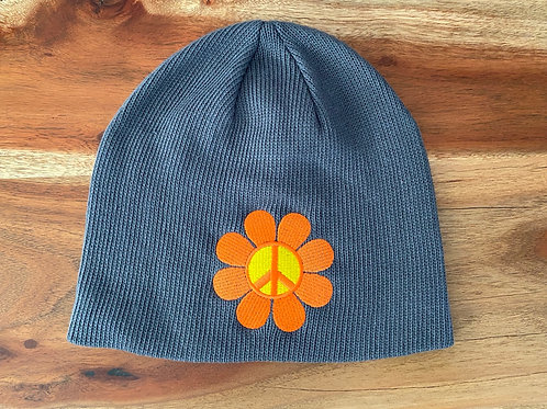 Grey Peace Flower Beanie
