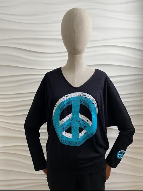 Black Double Peace Sign V-neck
