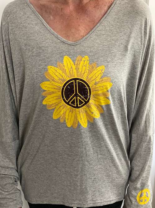 Gray V-Neck Peace Sunflower Top