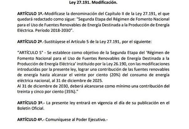 Proyecto para modificar la Ley de Energías Renovables (Ley N° 27.191).