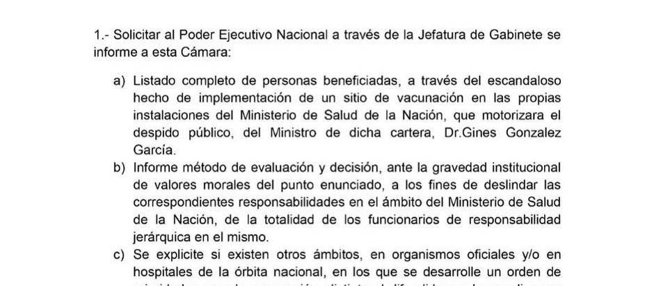 """Matzen pide explicaciones al gobierno por el """"vacunagate"""" y exige la renuncia de todo el Ministerio"""