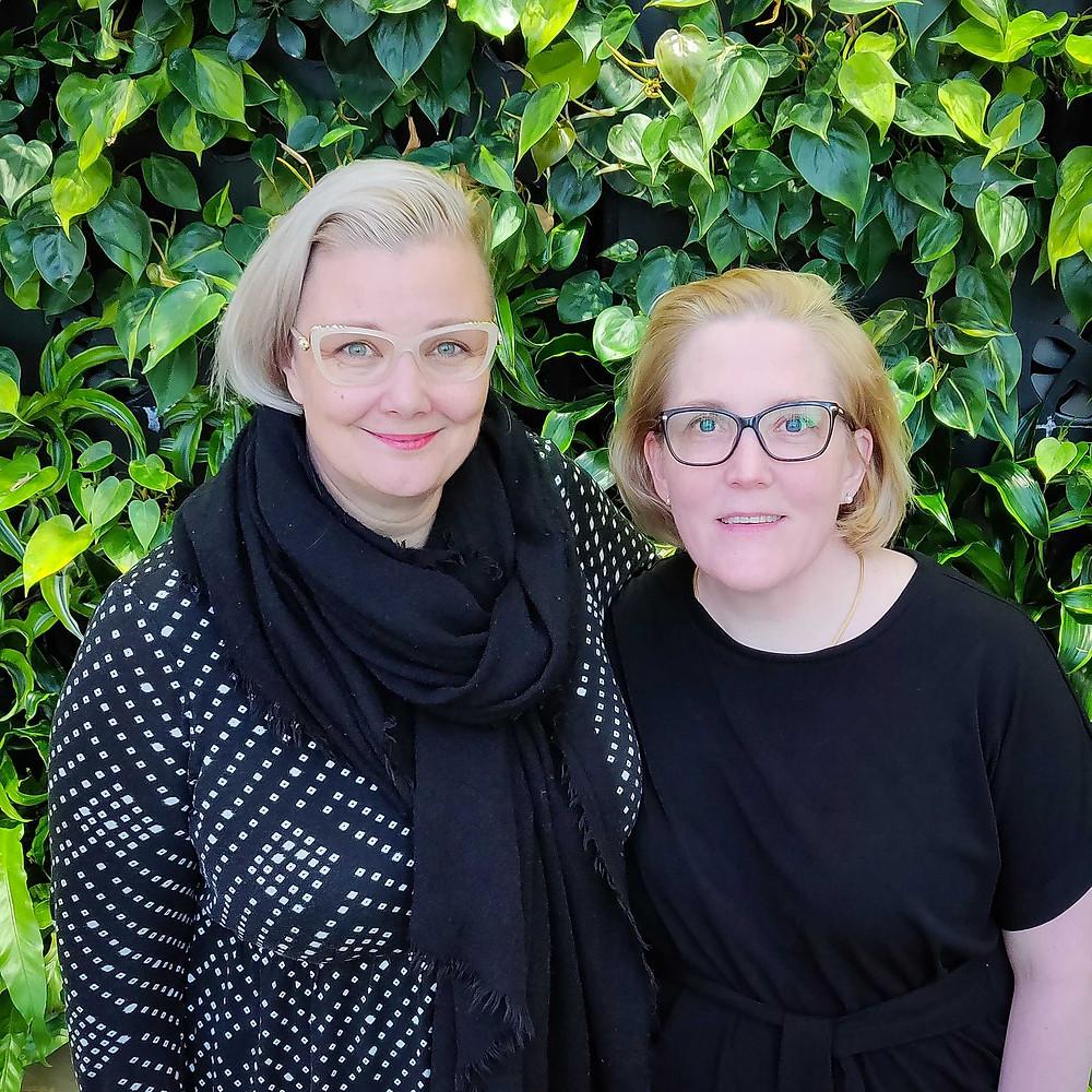 Kuvassa Infinen Tiina Saukko ja Enfucen Monika Liikamaa
