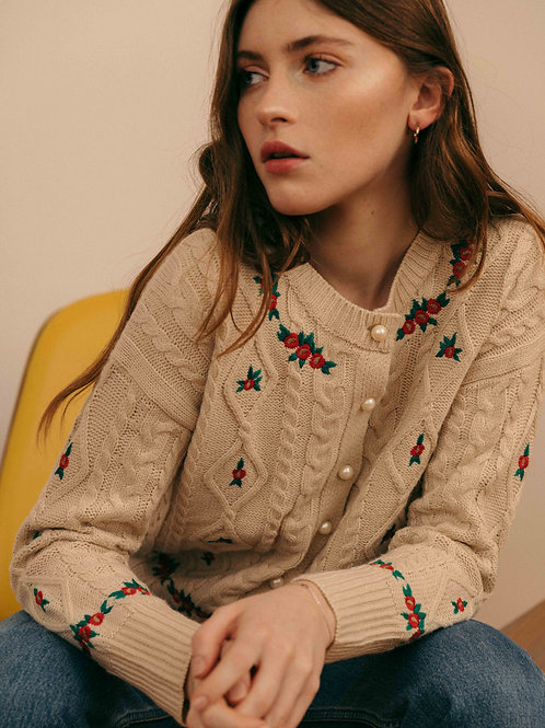 Flowers embroideries cardigan