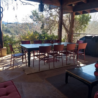 outdoor living with cathedral rock view.
