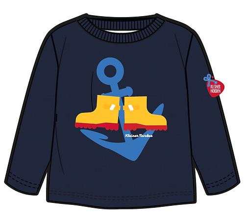 Sweater, maritim Gummistiefel und Anker Siebdruck