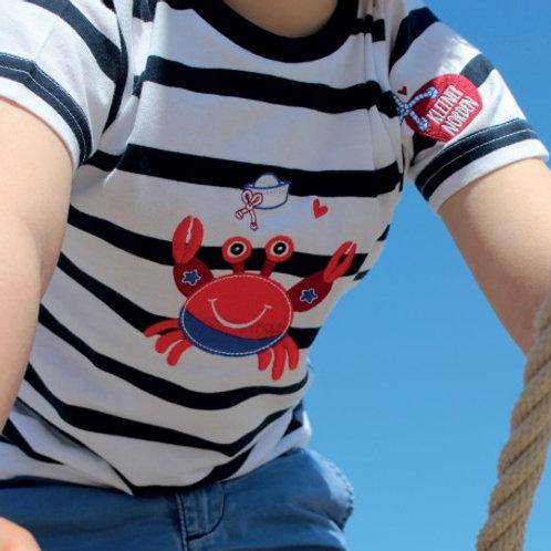 Kinder T-Shirt, maritim Krabbe gestickt