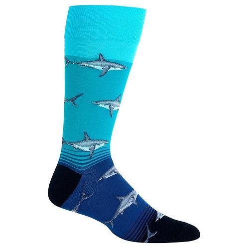 Hot Sox Men's Große Weiße Haie Crew Socks