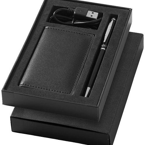 Coffret batterie de secours et stylo à bille, noir