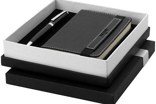 Parure stylo à bille - bloc-notes, noir