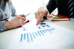 Image of male hand pointing at business