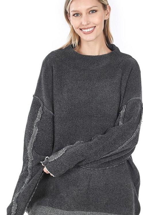 Raw Edge Dark Grey Charcoal Sweatshirt
