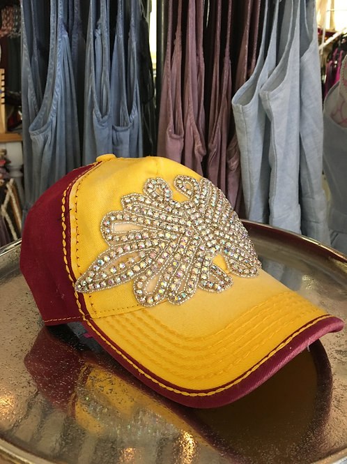Maroon and Gold Bling Hat