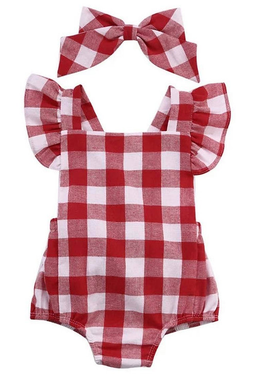 Red Check Infant Romper