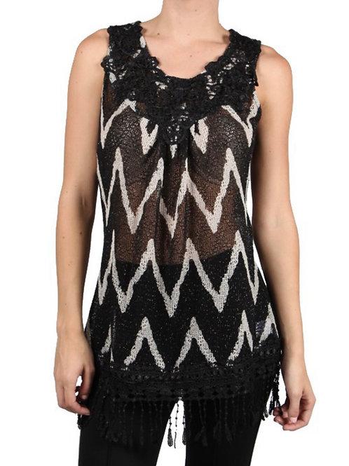 Black Sleeveless Knit top with Crochet Trim