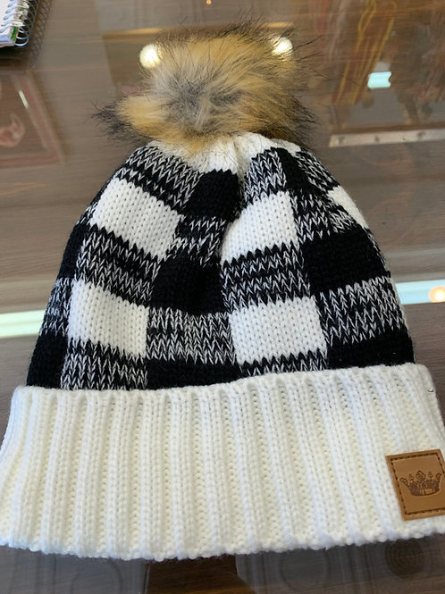 Black & White Buffalo Plaid Pom Pom Hat