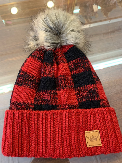 Red & Black Buffalo Plaid Pom Pom Hat