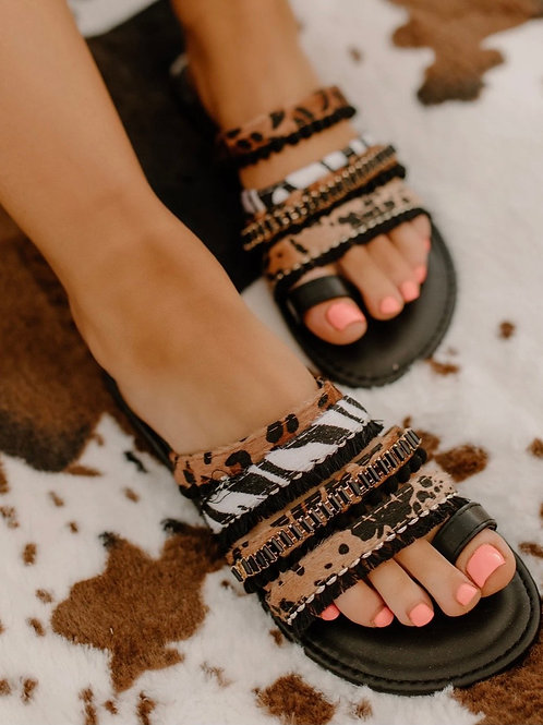 Boho Animal Print Sandals