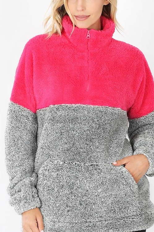 Hot Pink and Grey Fuzzy 3/4 ZIP