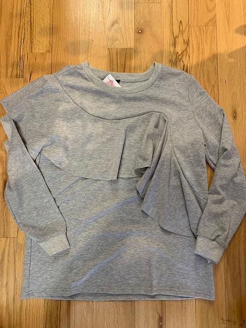 Sweatshirt with Ruffle Front
