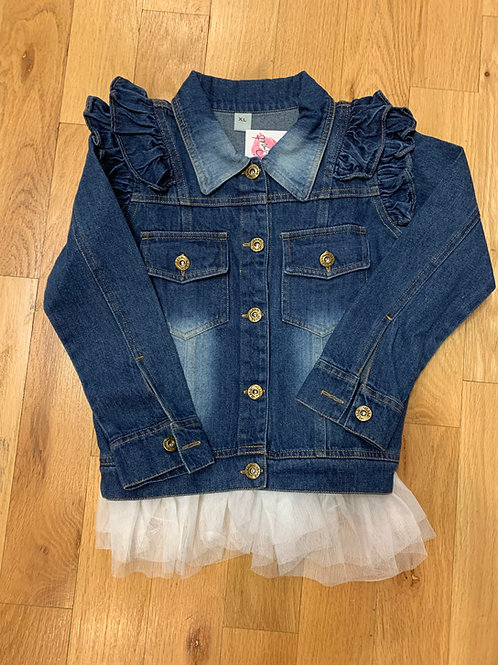 Little Girls Jean Jacket With Detachable Ruffle