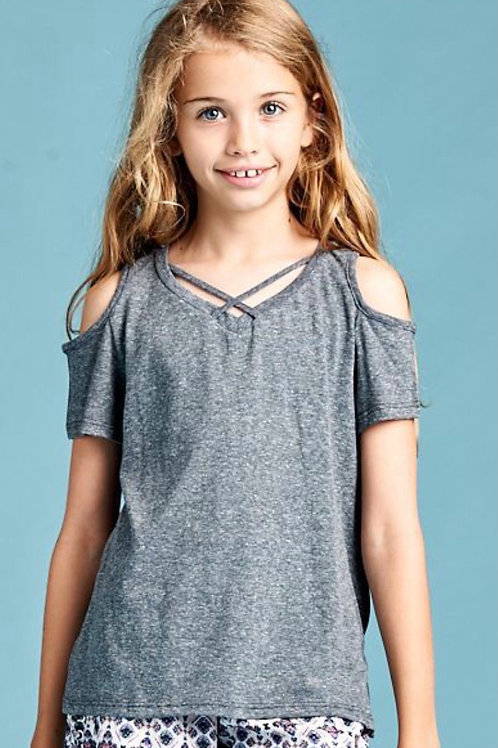 Cold Shoulder Grey Top with Criss Cross Straps
