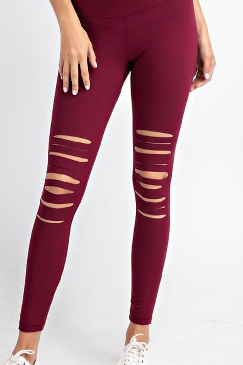 Full Length Wide Waistband Laser Cut Leggings