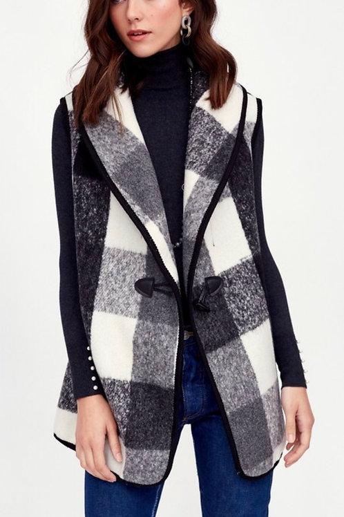 Black & White Plaid Long Vest