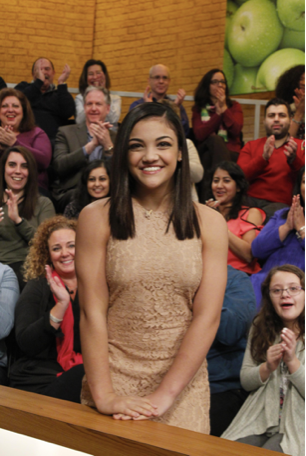 Laurie hernandez gold dress