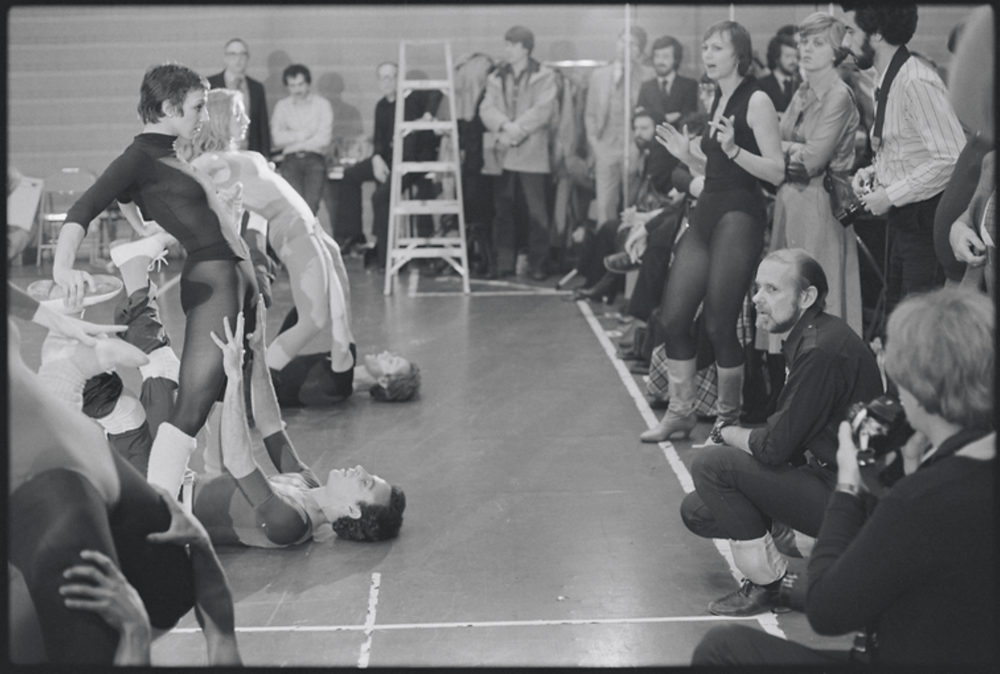 Bob Fosse watches dancers carefully during the rehearsal period for Dancin' in 1978.