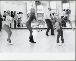 Choreographer Michael Bennett directs dancers in rehearsal for the gala performance number 3,389 of the stage production A Chorus Line in 1983.