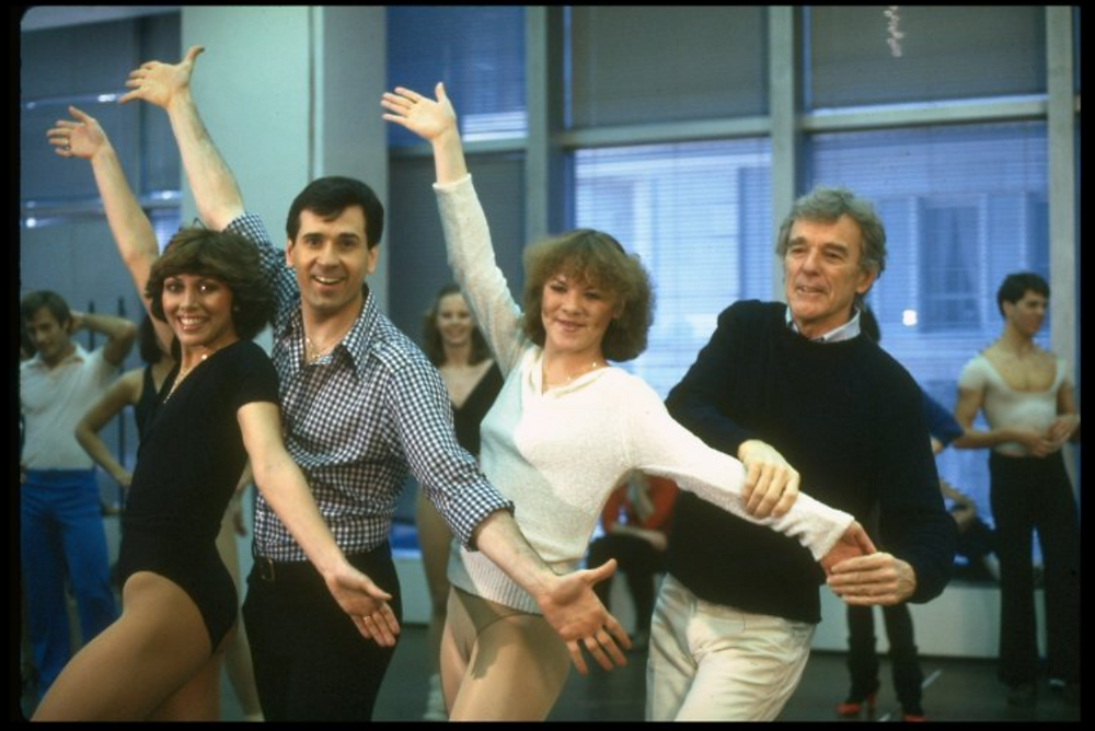 Director Gower Champion (R) w. dancers Wanda Richert (L) and Lee Roy Reams (2L) during a rehearsal for the Broadway production of the musical 42nd Street.