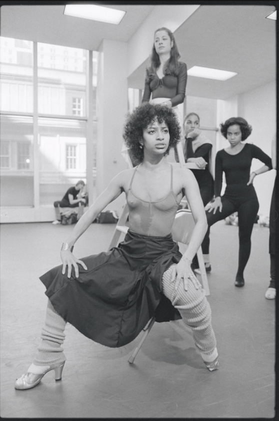 Debbie Allen sitting during rehearsal for the stage production West Side Story in 1979.