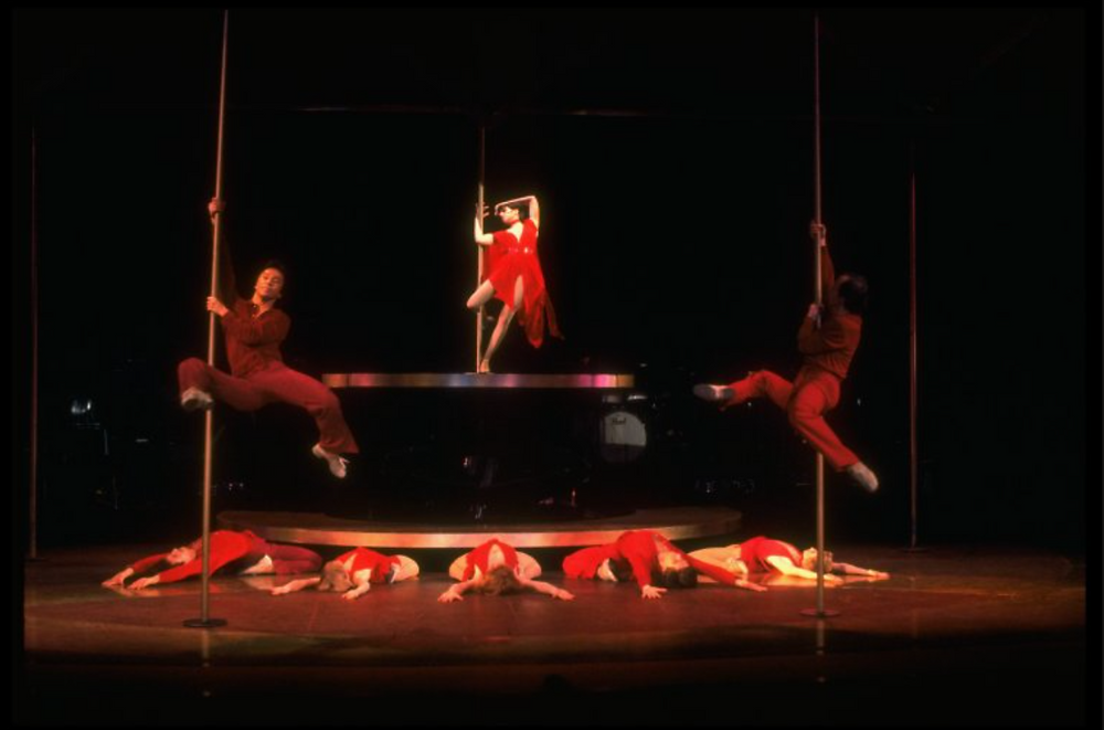 Actress Liza Minnelli, future choreographer Wayne Cilento (4L) and dancers in a scene from the Broadway production of the musical The Act in 1977.