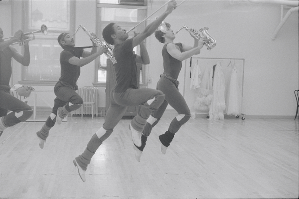 Musicians leaping in rehearsal for the stage production Dreamgirls in 1981.