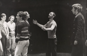 Don Percassi, Michael Bennett and Marvin Hamlisch during rehearsal for A Chorus Line in 1975.