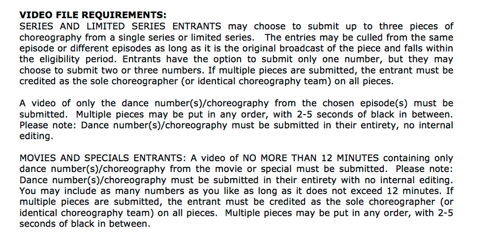 2017 Emmys rules for Choreography