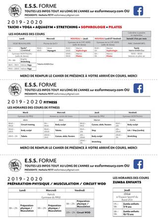 Planning de l'ESS FORME SAISON 2019/2020
