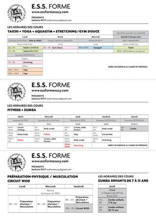 PLANING DE L'ESS FORME 2018-2019