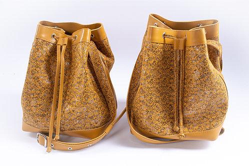 """Bucket Bags"" Caramel floral"