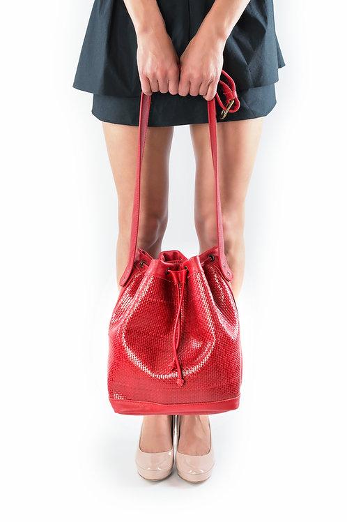 """Bucket Bag"" Flechtleder rot"